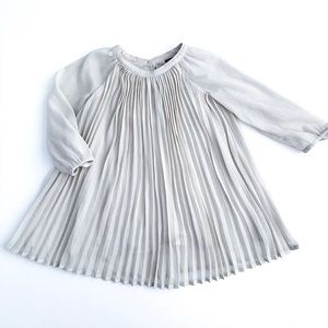 Baby Gap Shear Pleated Long Sleeve Dress 2T Silver